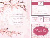 Cherry Blossom Water color Style Wedding Invitation Set.  The set of four elements includes invitation, r.s.v.p card,thank you card and wine label. There are cherry blossom branches and flowers on the elements done in water colours of pink, brown and fuschia .  The text is in the middle of each element.