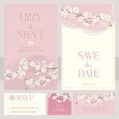 Cherry blossom Wedding Invitation cards. Vector illustration.