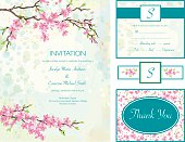 Cherry Blossom Wedding Invitation Set