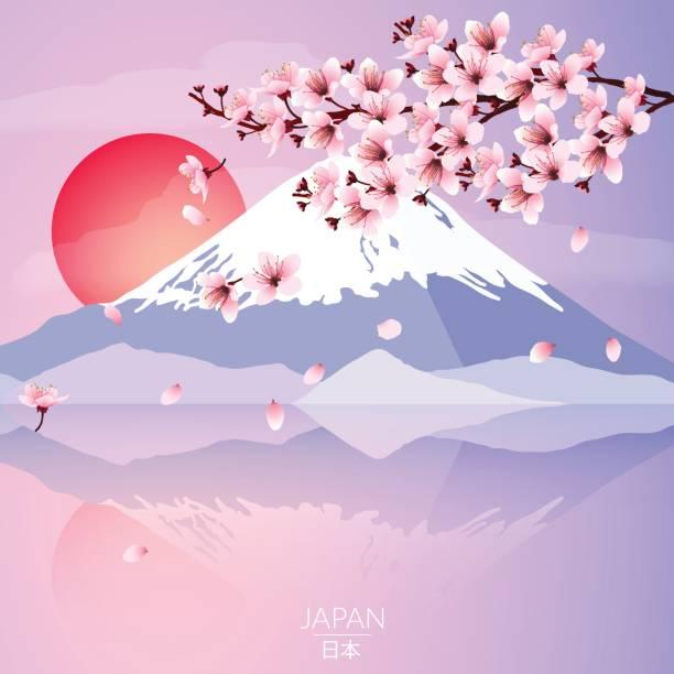 bildbanksillustrationer, clip art samt tecknat material och ikoner med cherry blossom med bergen och solen - pink sunrise