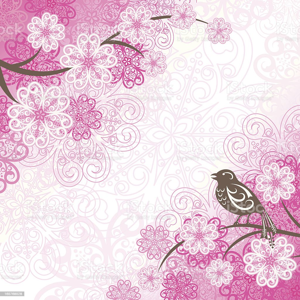 Cherry Blossoms and Bird royalty-free stock vector art
