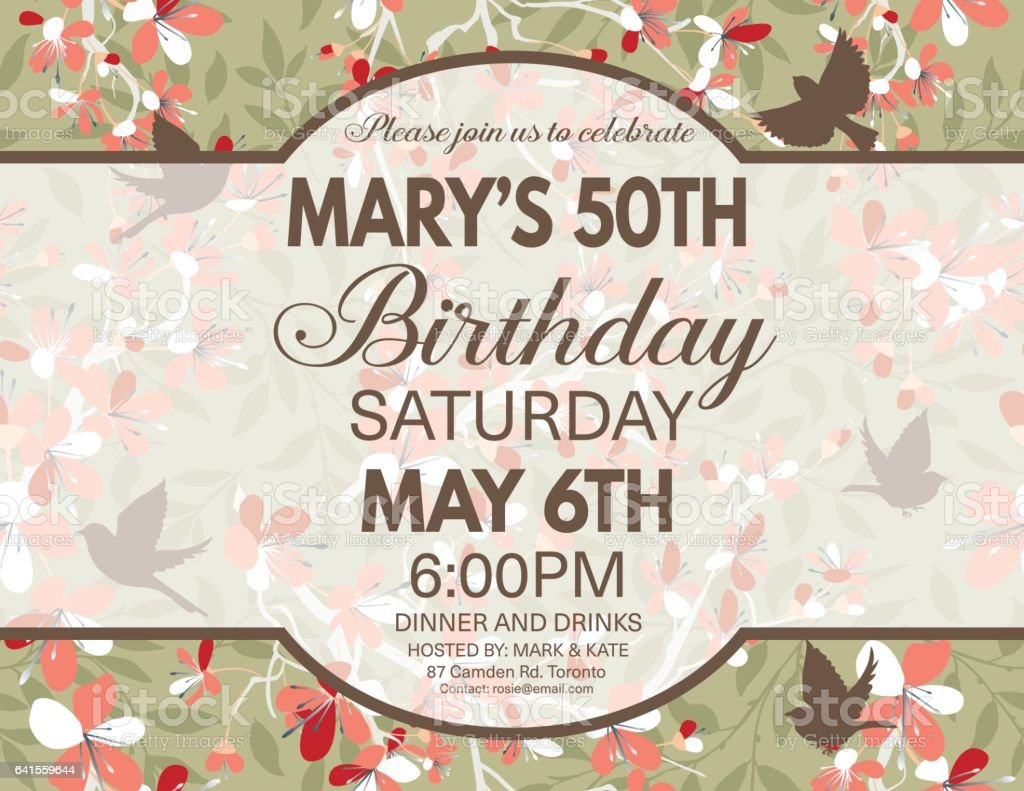 Cherry Blossoms And Sparrows Background Birthday Party Invitation