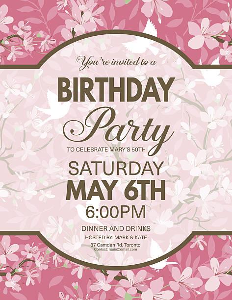 ilustrações de stock, clip art, desenhos animados e ícones de cherry blossoms and sparrows pattern with a party invitation - cherry blossoms