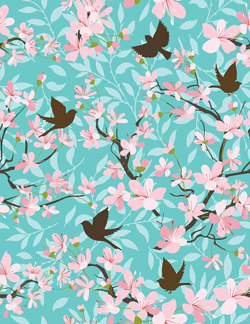 Cherry Blossoms And Sparrows Seamless Pattern
