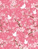 Cute Flying Birds and Cherry Blossom Branches Seamless Pattern. Silhouettes of vines in the background.