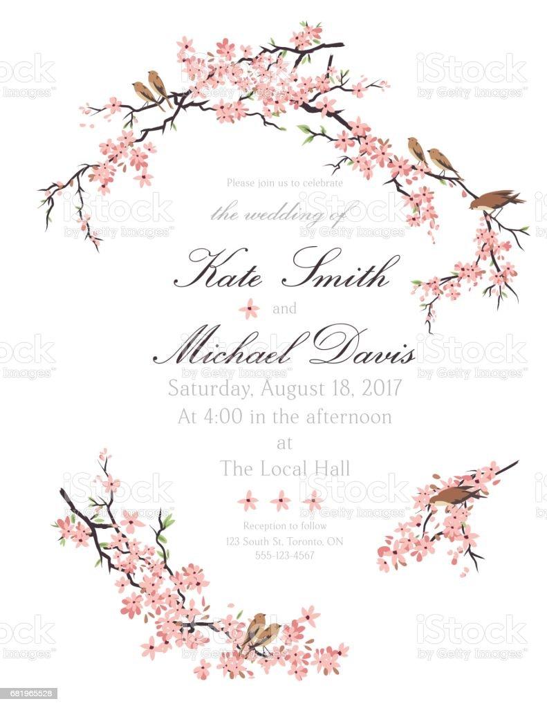 Cherry Blossoms And Tiny Birds Invitation Template vector art illustration