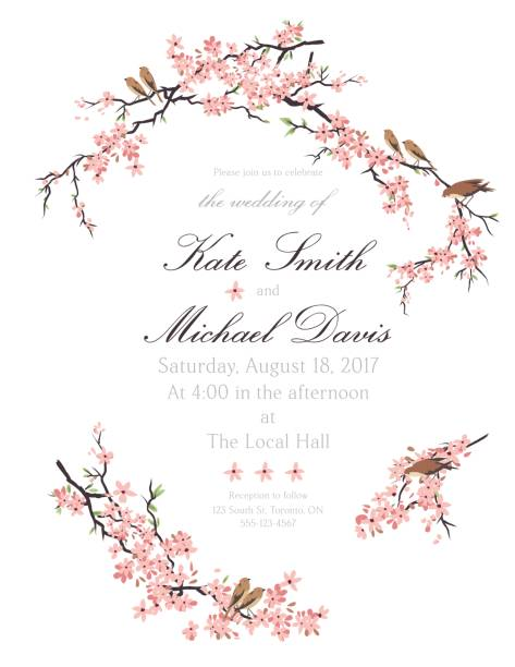 Cherry Blossoms And Tiny Birds Invitation Template vector art illustration