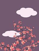 Sakura background template. Flat colors