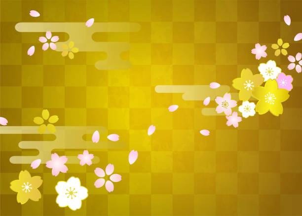 ilustrações de stock, clip art, desenhos animados e ícones de cherry blossoms, checkered gold leaf celebration background (japanese traditional texture) - cherry blossoms