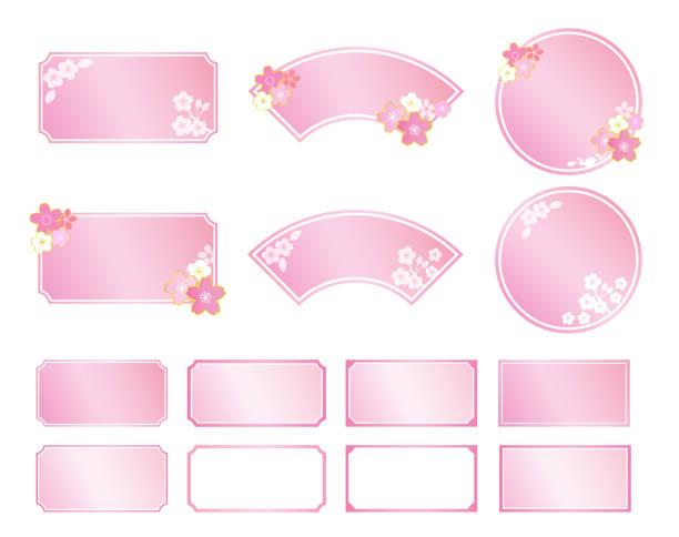 ilustrações de stock, clip art, desenhos animados e ícones de cherry blossoms japanese style frame - cherry blossoms