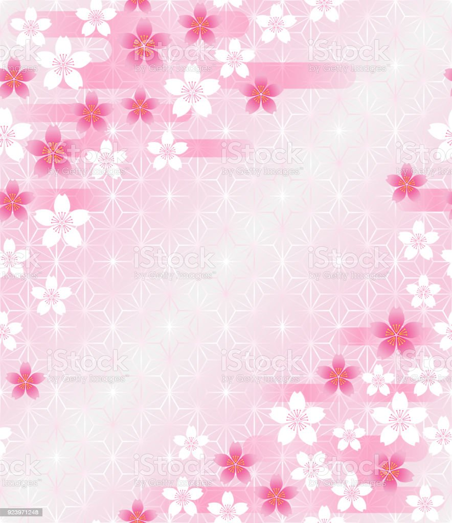 Cherry Blossoms On Japanese Traditional Pattern Royalty Free Stock