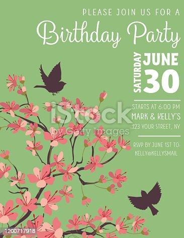 Sakura Background Party IInvite