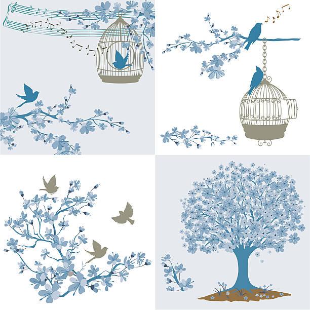 illustrations, cliparts, dessins animés et icônes de fleurs de cerisier et sakura oiseaux ensemble des éléments - dessin cage a oiseaux