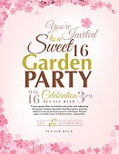 Bright floral Sweet 16 Birthday party Invitation vertical Template. Pink sakura cherry blossom branches and blossoms are randomly scattered around the top and bottom of the poster form a partial frame with text in the middle. The text is brown,green and pink on a pastel pink background.