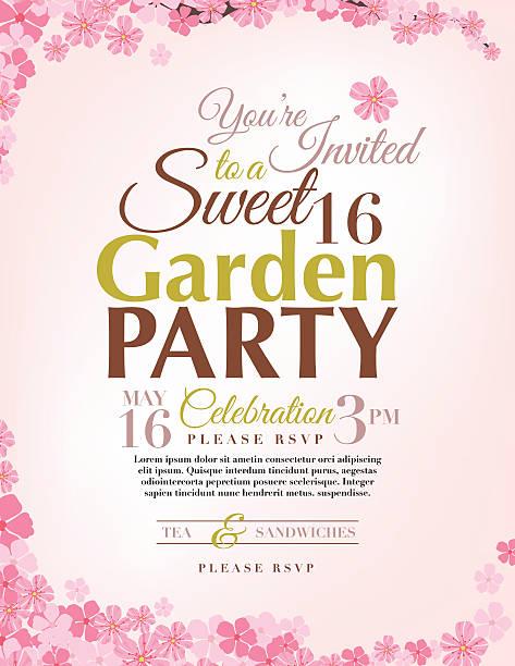 ilustrações de stock, clip art, desenhos animados e ícones de kirschblüten doce festa de 16 anos convite modelo - cherry blossoms