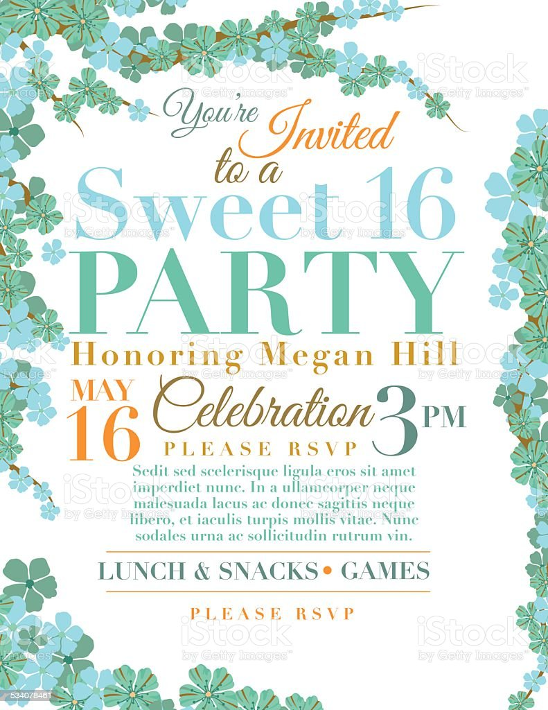 Cherry Blossoms Sweet Birthday Party Invitation Template Stock - Sweet 16 party invitation templates