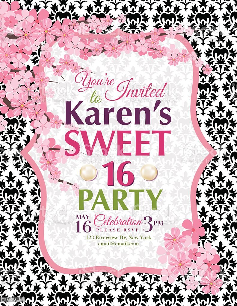 Cherry Blossoms Sweet Birthday Party Invitation Template Stock - Sweet 16 party invitations templates