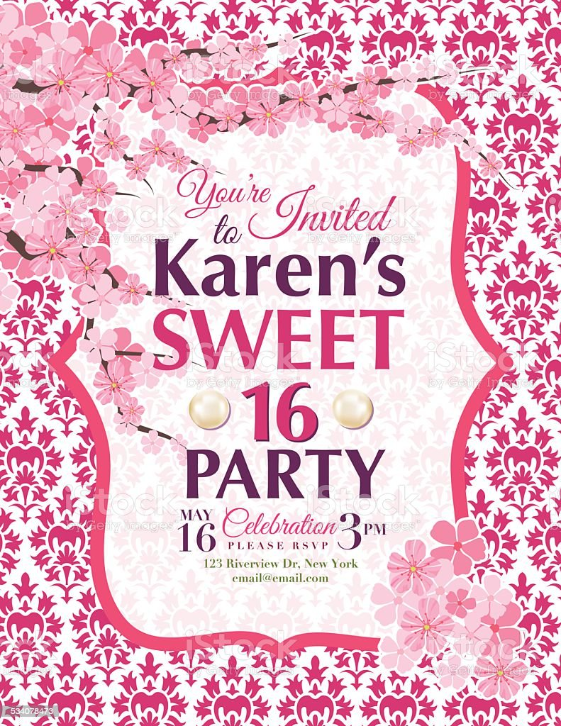 cherry blossoms sweet 16 birthday party invitation