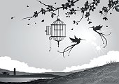 Two birds have flown from a bird cage with an open door, a heart shaped key hangs from a chain