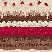 Cherry cake seamless pattern