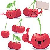 Cartoon cherry set including: