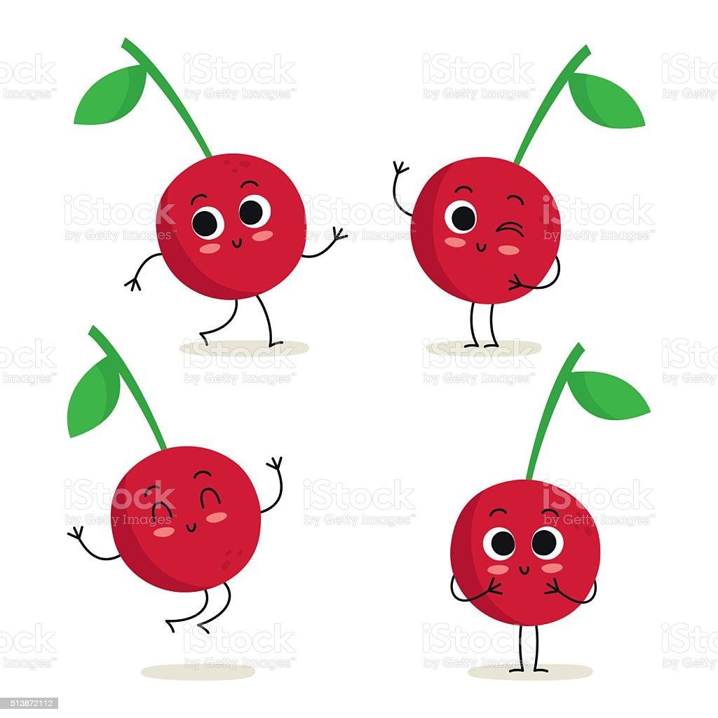 Cherry. Cute fruit character set isolated on white vector art illustration