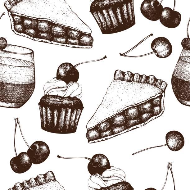 kirsche dessetr muster - pflaumenkuchen stock-grafiken, -clipart, -cartoons und -symbole
