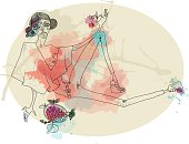 Vector watercolor hand-drawn illustration of young beautiful girl eating cherry. Image contains transparency, 10 EPS