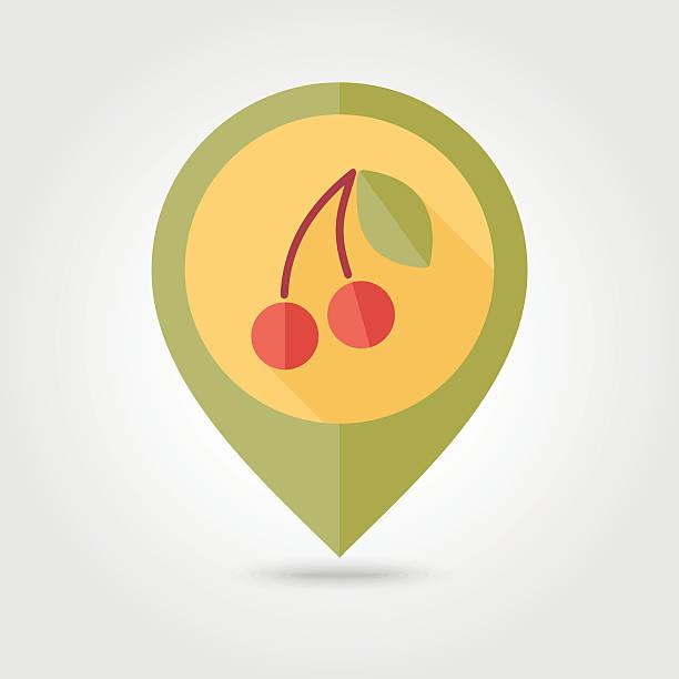 Cherry flat pin map icon. Fruit vector art illustration