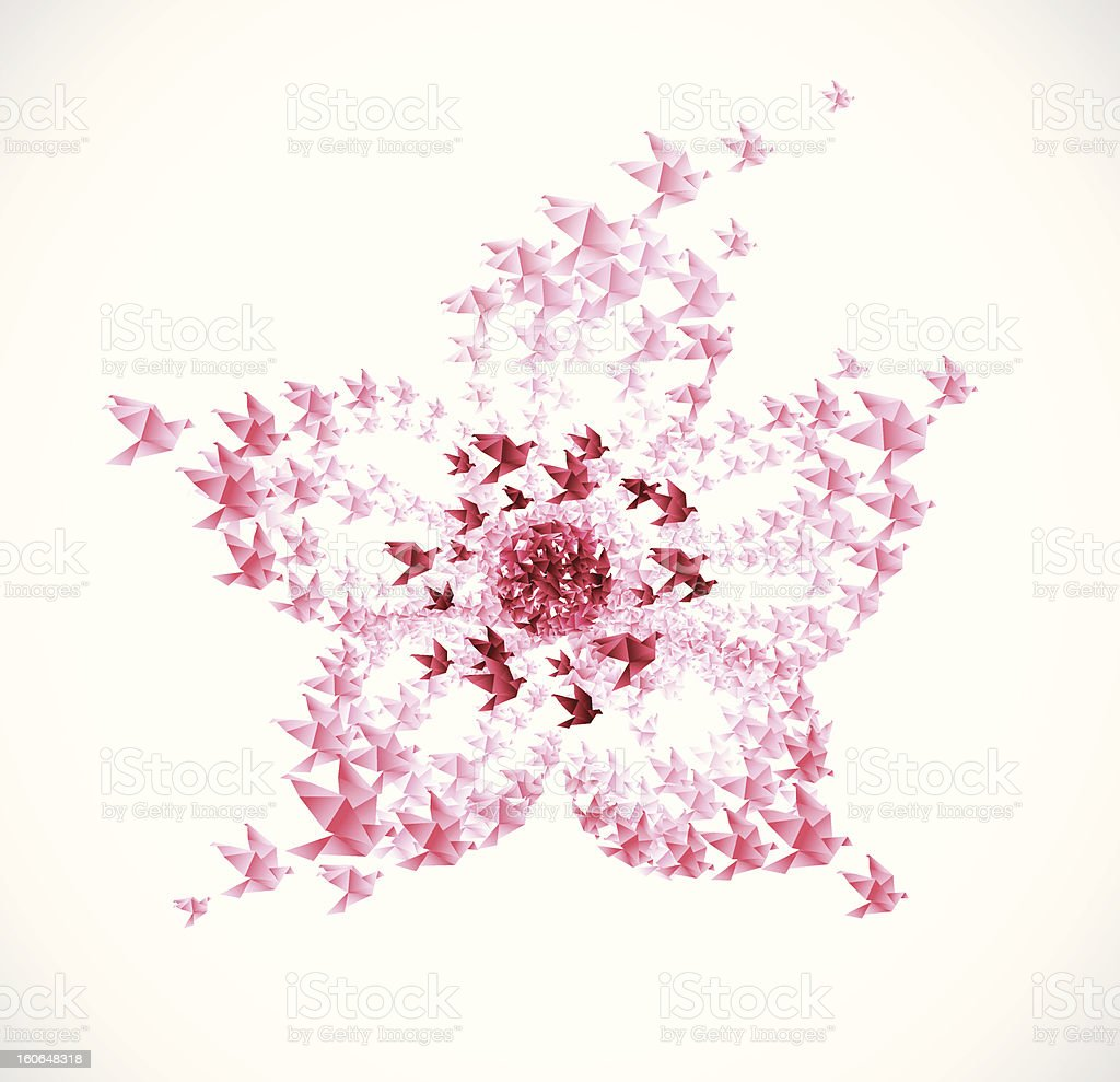 Cherry flower origami shaped from flying birds royalty-free stock vector art