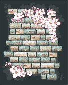 cherry flowers on a brick wall