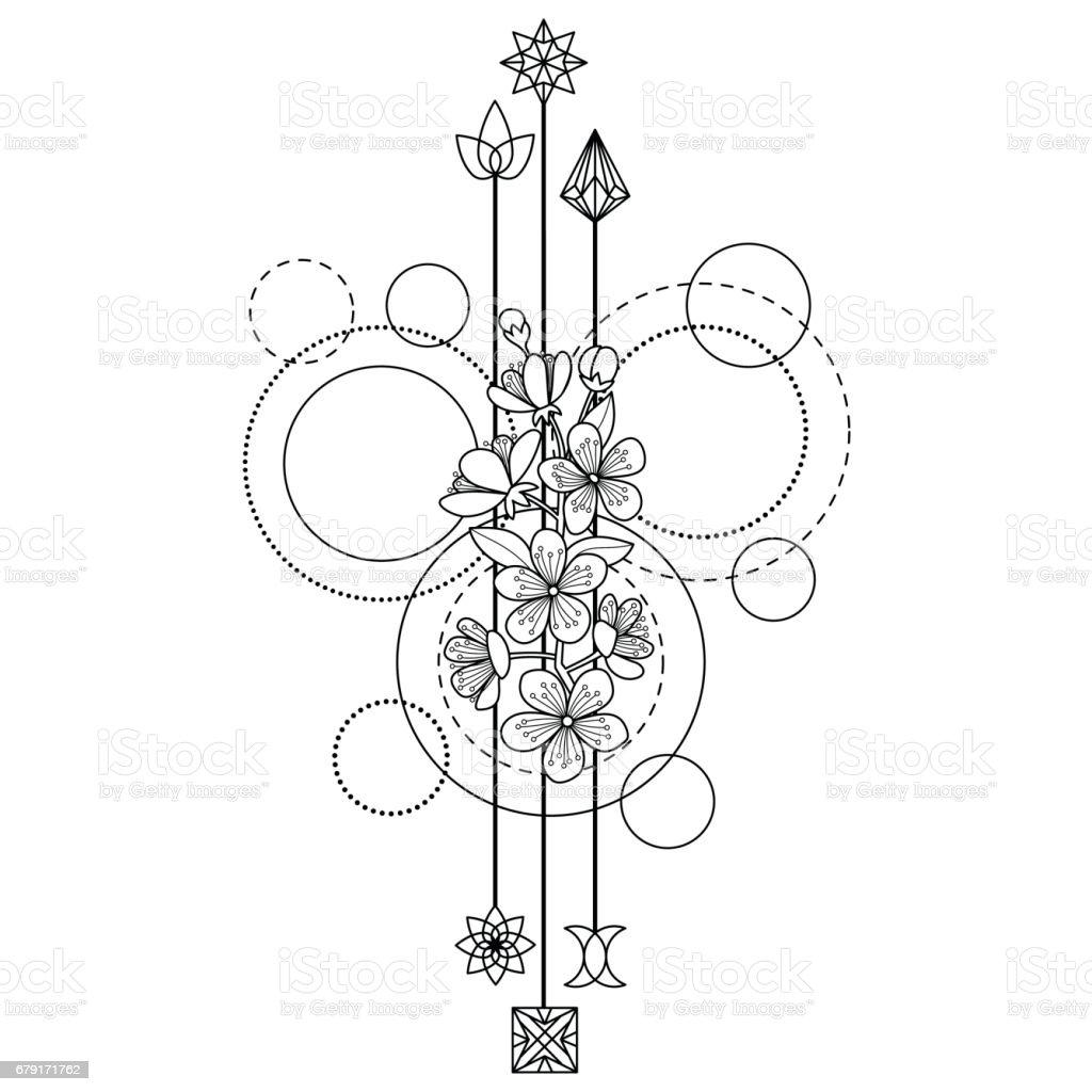 Ilustración De Tatuaje De Flores De Cerezo Y Más Banco De Imágenes