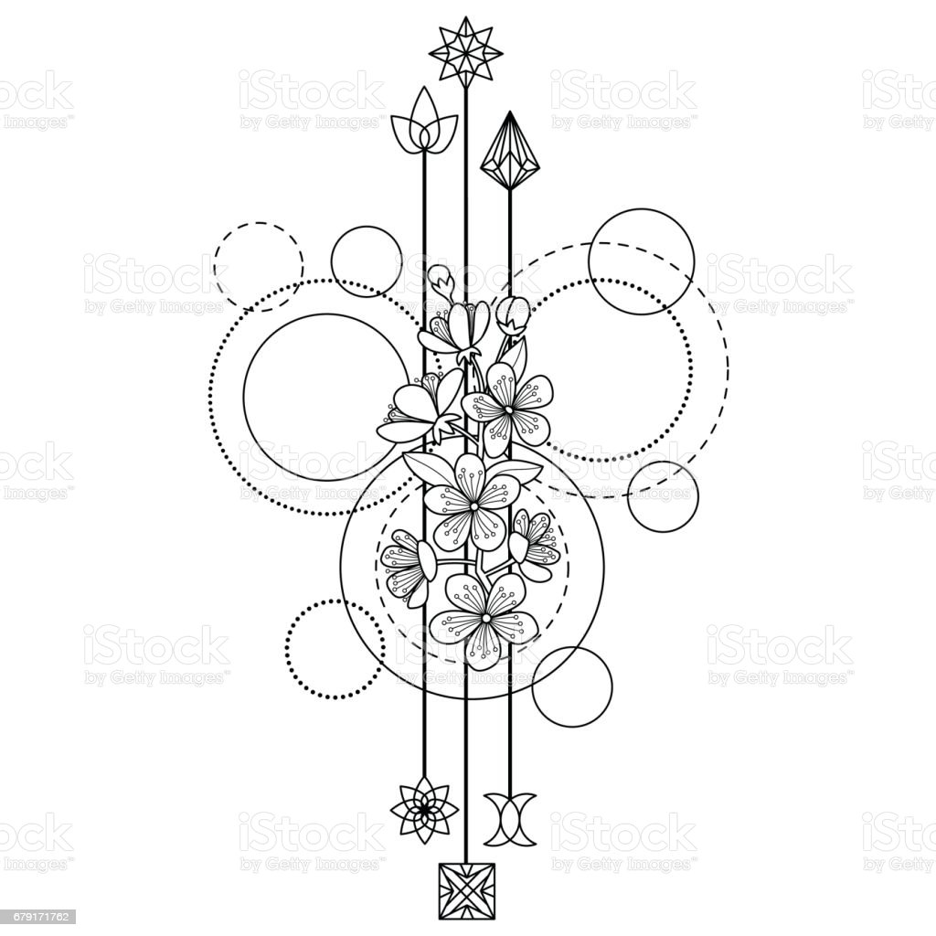 Tatuagem de flores de cereja - ilustração de arte em vetor