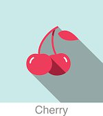 Cherry food and drink flat icon series