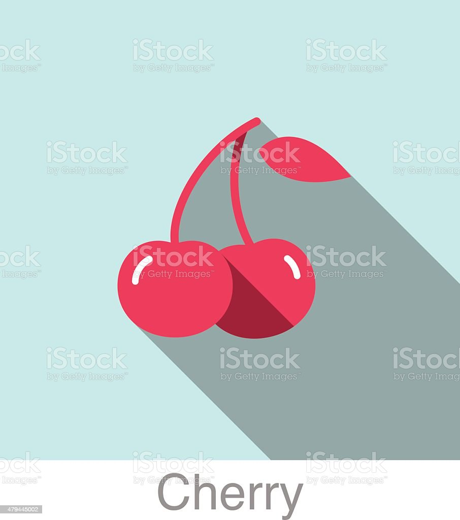 Cherry food and drink flat icon series vector art illustration
