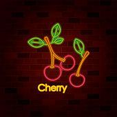 cherry fruit on neon sign on brick wall vector illustration