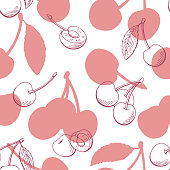 Cherry graphic berry pink color seamless pattern background sketch illustration vector