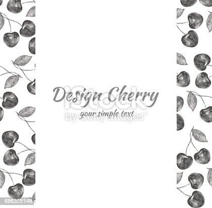 istock Cherry hand drawn illustration, Vector berry border, Fruit design frame for banner, cards, invitations 686325148