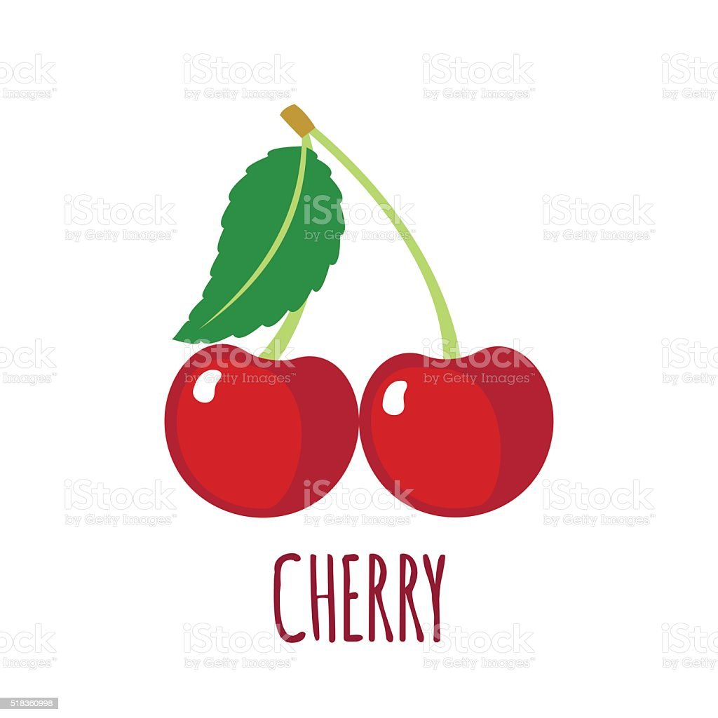 Cherry icon in flat style on white background vector art illustration