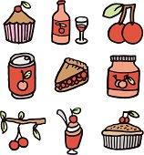 Cherry icons set