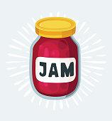 Vector cartoon cherry jam jar icon. Hand drawn vector illustration.