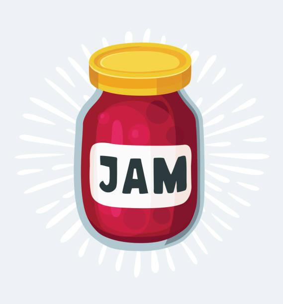 ilustrações de stock, clip art, desenhos animados e ícones de cherry jam jar icon. hand drawn vector illustration. doodle fruit background. marmalade. - jam jar