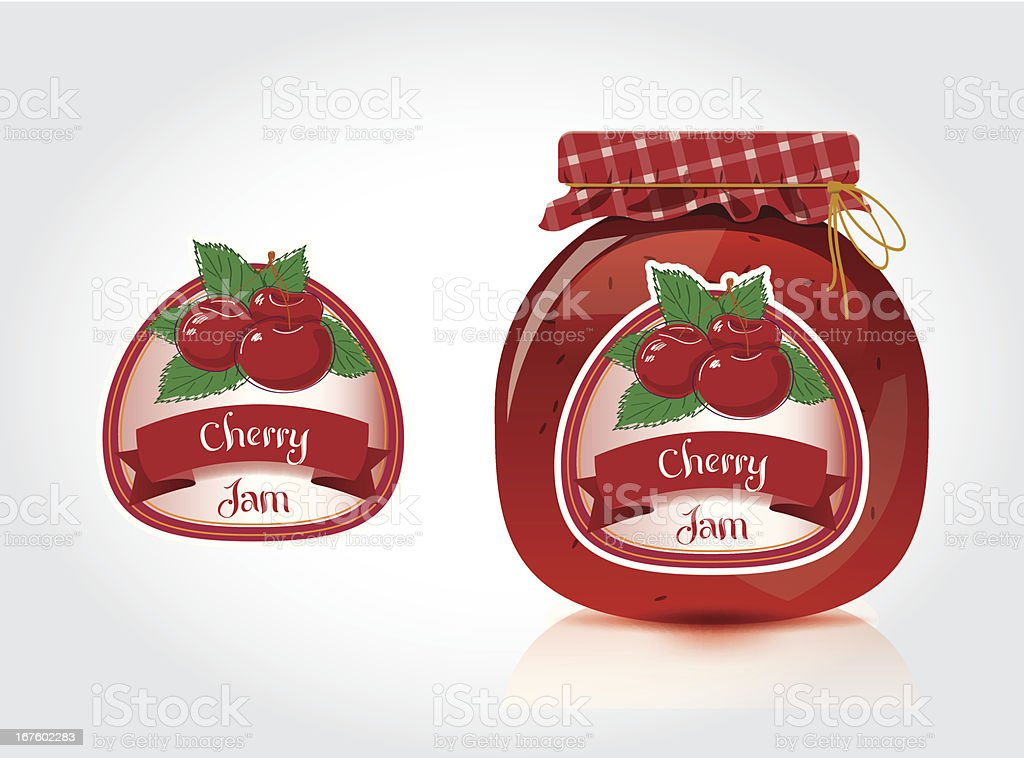 Cherry Jam Label With Jar royalty-free stock vector art