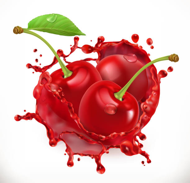 Cherry juice. Fresh fruit, 3d vector icon Cherry juice. Fresh fruit, 3d vector icon cherry stock illustrations
