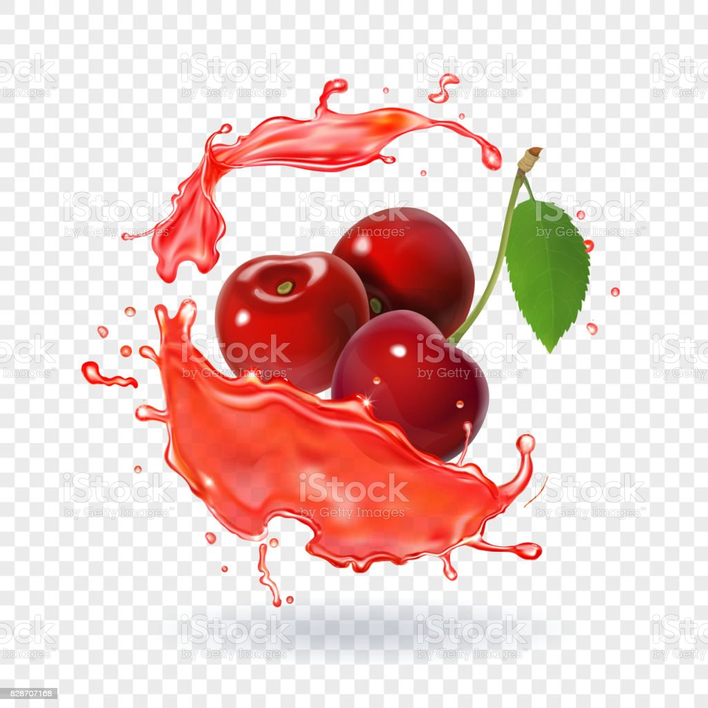 Cherry juice Realistic fresh berry fruit splash of juice vector art illustration