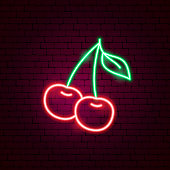 Cherry Neon Sign. Vector Illustration of Game Promotion.