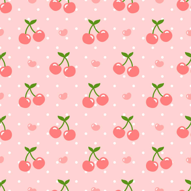 Cherry pattern Cherry pattern, cute heart fruit cartoon seamless background with dot, Vector illustration cherry stock illustrations