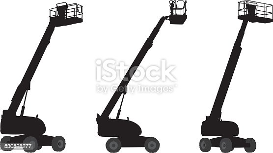 cherry picker machine silhouettes stock vector art  u0026 more images of black and white 530528277