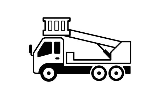 cherry picker truck illustration vector art illustration