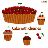 Cherry pie. Pie with berries. Cake with cherries. Berry pie. Dessert. Bakery, bakery products, confectionery. Vector illustration.